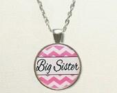 Chevron Big Sister Necklace for kids, big sister gift, for sister, big sister jewelry, big sister pendant, chevron necklace, chevron jewelry