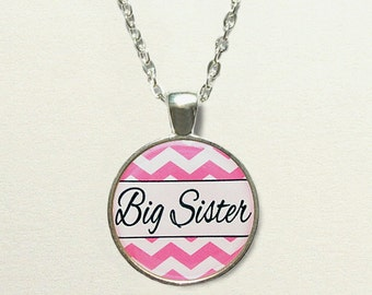 Chevron Big Sister Necklace for kids, big sister gift, for sister, big sister jewelry, big sister pendant, chevron necklace, chevron jewelry