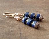 Lapis Lazuli Copper Earrings - Blue Dangle Earrings - Bohemian Earrings - Boho Earrings - Blue Boho Jewelry