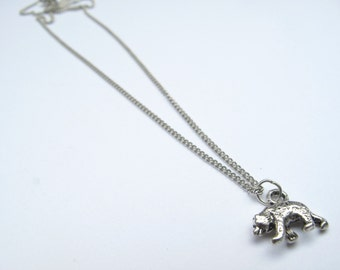 Silver Bear Necklace - Silver // Animal Charm Necklace // Bear Jewelry