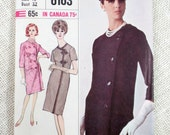 Vintage Pattern Simplicity 6163 1960s Mod Coat Dress Bust 32 1965 Cheongsam Double Breasted