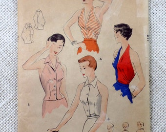 Vintage pattern Vogue 7080 1950s Halter Top blouse shell sewing 1952 Plunging neckline Bust 30 Marilyn Monroe retro rockabilly