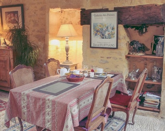 FRENCH Photography ~ A rustic diningroom in SARLAT France, travel photo, decor art, quaint, home decor, wall hanging