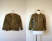 Free USA shipping! Vintage Cardigan / 50's Paisley Sweater / Small