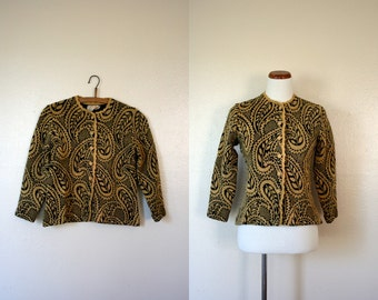 Vintage Cardigan / 50's Paisley Sweater / Small