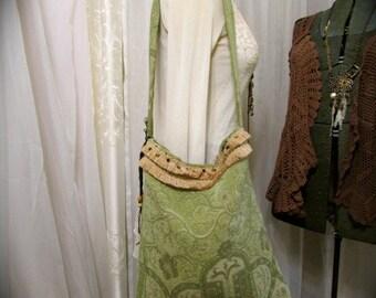 SALE Sage Boho Bag, tall deep bag, fringe trim beads embellished, womens fabric purse, handmade thick chenille fabric