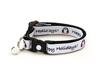 Holiday Cat Collar - Happy Holiday Penguins - Small Cat / Kitten or Large(standard) Size Collar