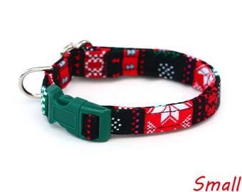 Christmas Dog Collar - Ugly Christmas Sweater - Mini Small Medium Large XL Dog Collar