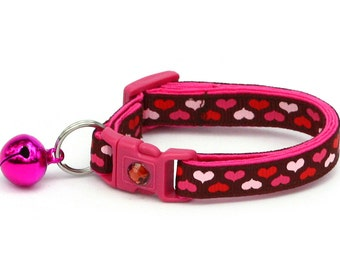 Valentines Day Cat Collar - Pink Hearts on Brown - Kitten or Large Size
