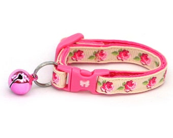 Floral Cat Collar - Pink Tea Party Roses on Cream - Small Cat / Kitten Size or Large Size