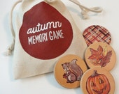 AUTUMN Memory Game - Wooden Children's Matching Game, Celebrate Fall, Thanksgiving, October, Halloween