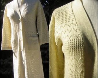 Vintage 70s Sweater Coat Dress Ivory Knit Long Cardigan Cardie - Medium