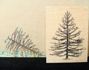 bare pine tree rubber stamp