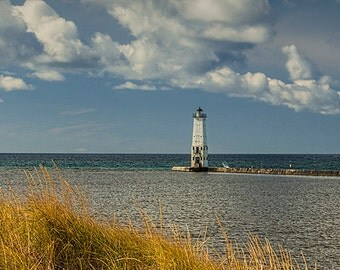 Lighthouse with Sand Dune and Grass by Frankfort Michigan on the Lake Michigan Shore No.9155 -  A Fine Art Lighthouse Seascape Photograph