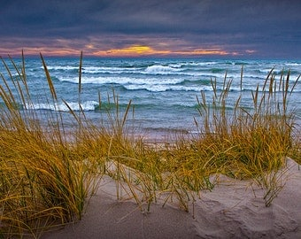 Sunset at the Beach Sand Dune on the Lakeshore of Lake Michigan by Holland Michigan No.0192 - A Fine Art Seascape Nature Photograph
