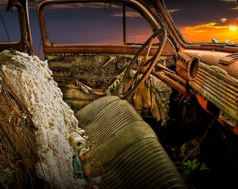 Decrepid Interior of Abandoned Vintage Automobile at Sunset in Ontario Canada No.7 A Fine Art Auto Car Landscape Photograph