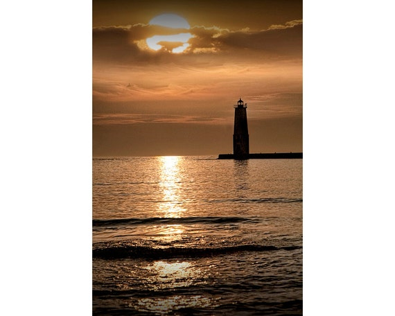 Colorful Sunset at the Lighthouse by Frankfort Michigan on the Lake Michigan Shore No.182 A Fine Art Lighthouse Seascape Photograph