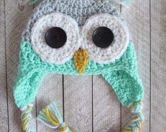 Mint Green Grey Crochet Baby Owl Earflap Hat, Newborn Crochet Owl Hat, Toddler Owl Earflap