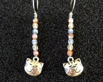 Earrings Sterling Silver Ear Wires, Cat Charm, Czech Glass Beads, Cute Jewelry, Animal Jewelry, Cute Earrings, Cats