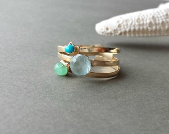 SALE Stacking Gemstone Rings, Turquoise Wire Ring, Adjustable Wire Rings, Aquamarine Ring: 25% Off Ready to Ship