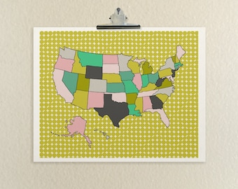 All Fifty (Patterns) // United States, American, Maps and Charts, Nursery Art, Travel Theme, Baby Decor, Dorm, Cross Country, Customized