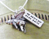 ad astra per alas porci word tag with flying pig necklace