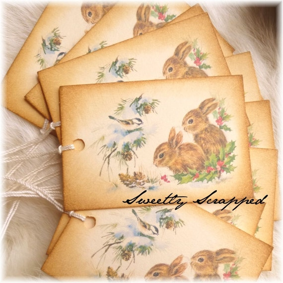 Snow Bunnies and Birds, Winter Scene, Tags, Gift Packaging, Rabbit 8