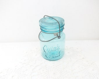 Old Blue Quick Seal Pint Canning Jar Attached Wire Wedding Lantern Rustic Centerpiece /