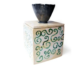 handmade ceramic box, jar, lidded box, pottery, lidded container