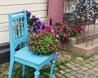 Blue Chair Print - Country Decor - Finland Photography - Porvoo Photo Aqua Turquoise Purple Travel Photography Farmhouse Decor