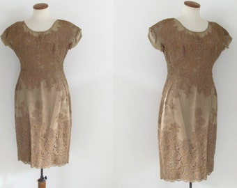 tan lace dress - 50s vintage mocha light brown floral cocktail sheer pinup mid century sheath dress - wiggle fit - short sleeves - medium
