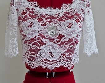 French Lace Bolero, Wedding Lace Bolero, Wedding Bolero With Sleeves