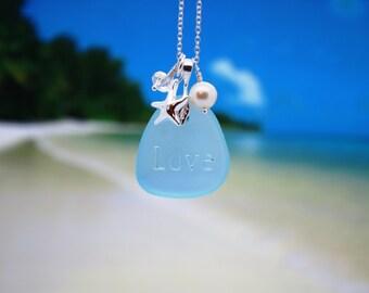 Sea Glass Jewelry Sea Glass Necklace Seaglass Necklace Blue Seaglass Jewelry Wedding Jewelry Bridal Jewelry Bridesmaid Jewelry Engraved 12