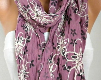 Floral Embroidered Scarf Shawl Cotton Fall Christmas Gift Cowl  Scarf Gift Ideas For Her Women's Fashion Accessories