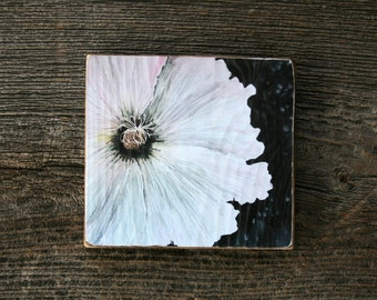 Hollyhock Flower - Art Block - Home Decor - Nature Art Print on Wood