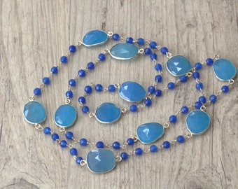 Blue Agate Chain Necklace, Long Rosary Gemstone Beaded Chain Silver Necklace, Dainty Necklace, Everyday Necklace, Unique Gift for Her