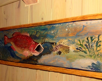 Red Grouper and Lion Fish painting 4 ft. colorful wall art on reclaimed pine coral reef beach home decor detailed whimsical ocean scene