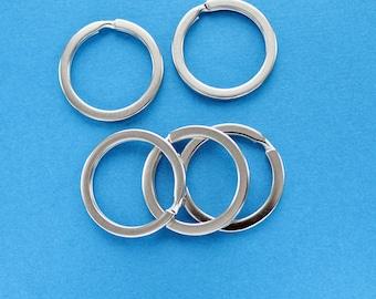 10 Keychain Rings - Spilt Rings - Silver tone 25mm - Z068