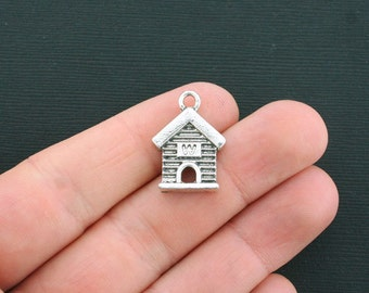 4 Dog House Charms Antique Silver Tone Bird House Charms - SC1411
