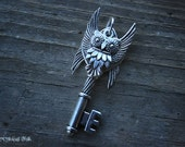 Silver Owl Guardian Key Necklace
