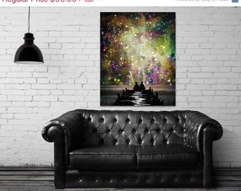 ON SALE 20% OFF The Universe Was Ours - stretched canvas print, mixed media painting, abstract painting, gallery wrapped canvas, couple, lov