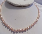 """Vintage necklace, 19 inch 3mm. pink freshwater pearl necklace with 14 KG closure, signed """"D"""", elegant pearls"""