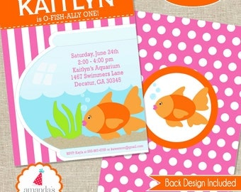 Pool Party Invitation Printable | Goldfish Party Invitation | Girls Goldfish Birthday Invite |  Girls 1st Birthday | Amanda's Parties To Go