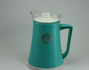 Vintage Thermal David Douglas Aqua Glass Plastic Pitcher Carafe
