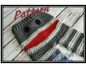 Crochet Monkey Baby to Toddler Pants PATTERN  - Newborn to 4T Sizes Monkey Pants - PDF Sock Monkey Pants - Baby Pants - by JoJo's Bootique