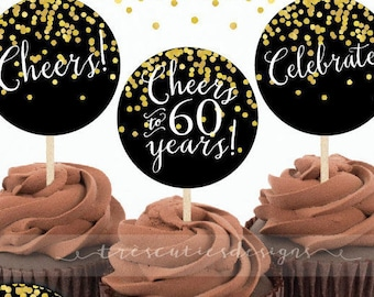 60th Birthday Cupcake Toppers - Gold Confetti - 2inches - Printable - Non-editable