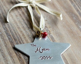 Personalized Christmas Ornament - Handstamped Custom Silver Star Ornament - Family Ornament - First Christmas - New Baby - Christmas Gift