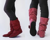 Loose suede boots - Burgundy comfort - Handmade Slouch Leather Boots - Zero drop and CUSTOM FIT