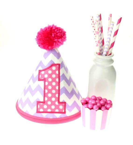 Lavender Chevron & Hot Pink Polka Dot Fabric Birthday Hat