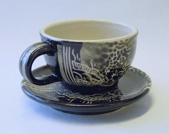 Barcode Mandala Espresso Cup and Saucer Set